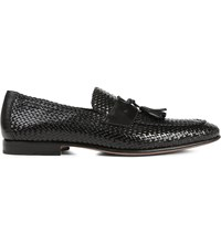 Stemar Woven Leather Penny Loafers Black
