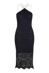 Topshop Lace Triangle Midi Dress Navy Blue