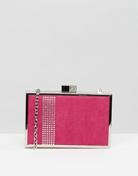 Lotus Box Clutch Bag Fuchsia Microfibre Pink