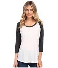 Hurley Staple Easy Raglan White Heather Black Women's Long Sleeve Pullover