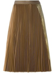 Sacai Lame Pleated Wrap Skirt Brown