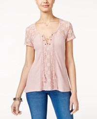 American Rag Crochet Trim Waffle Knit Top Only At Macy's Pale Pink