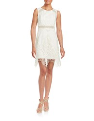 Anna Sui Scalloped Embroidered Overlay Dress White