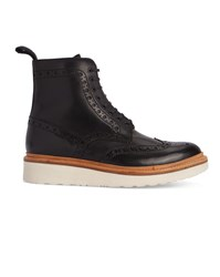 Grenson Black Fred Tip Toe White Gum Sole Leather Boots