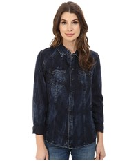 G Star Tacoma Western Shirt Vintage Aged Women's Long Sleeve Button Up Blue