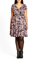City Chic Plus Size Women's 'Rose Beauty' Belted Print Fit And Flare Dress