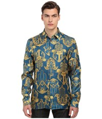 Versace Iconic Baroque Print Silk Button Up Navy Gold Men's Long Sleeve Button Up Blue
