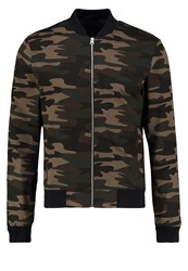 New Look Bomber Jacket Green Pattern