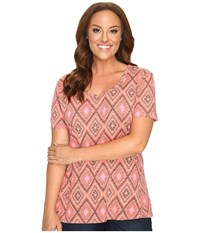 Fresh Produce Plus Size Diamonds Luna Top Melon Sherbet Pink Women's Clothing Brown