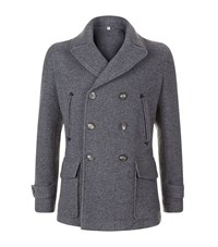 Hardy Amies Leather Detail Pea Coat Male Grey