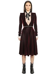 Philosophy Di Lorenzo Serafini Low Cut Velvet Dress With Pearl Belt