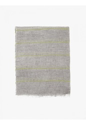 Jil Sander Men's Light Grey Striped Linen Scarf