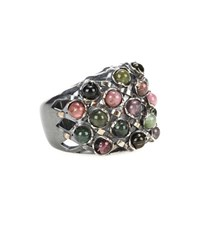 Bottega Veneta Oxidized Sterling Silver Ring With Tourmaline Stones