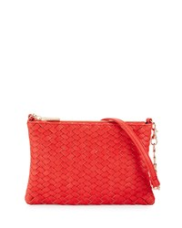 Neiman Marcus Woven Faux Leather Crossbody Bag Poppy