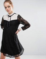 Reclaimed Vintage Mini Dress In Lace With Contrast Bib And Tie Neck Black And White Multi
