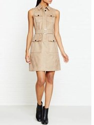 Karen Millen Faux Suede Shirt Dress Camel