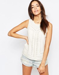 New Look Crochet Insert Sleeveless Shell Cream
