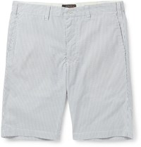 Beams Plus Slim Fit Striped Seersucker Shorts Blue
