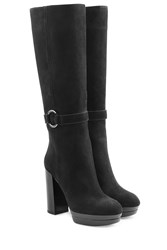 Hogan Suede High Heel Boots Black
