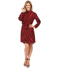 Vince Camuto Long Sleeve Swept Check Belted Dress With Neck Scarf Radiant Red Women's Dress