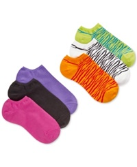 Hue Women's Cotton No Show 6 Pack Socks Zebra