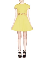 Chictopia Butterfly Embroidery Scuba Jersey Flare Dress Yellow