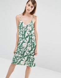 Selected Fara Printed Cami Dress Green