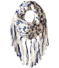 San Diego Hat Company Bss1669 Crochet Knit Infinity Scarf With Fringe Indigo Scarves Blue