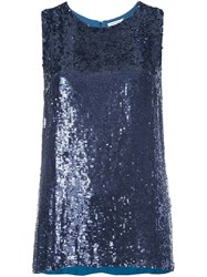 P.A.R.O.S.H. Sequined Tank Top Blue