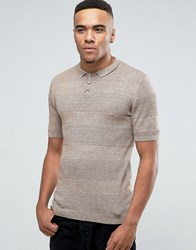 Asos Knitted Polo With Textured Stripes In Muscle Fit Mustard Twist Brown