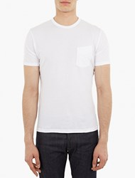 Officine Generale White Cotton Pocket T Shirt