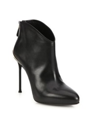 Roberto Cavalli Leather Stiletto Booties Black