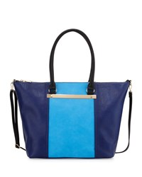 Neiman Marcus Sybil Bar Colorblock Tote Bag Blue Navy