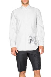 Thom Browne Classic Button Down Shirt With Tiger Embroidery In Gray