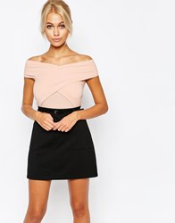 Fashion Union Wrap Front Off Shoulder Body Nude