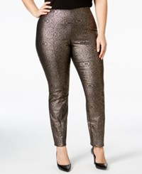 Alfani Plus Size Metallic Pull On Skinny Pants Only At Macy's Intricate Brocade Gold
