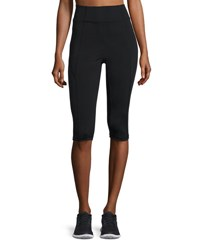 Aurum Paneled High Rise Capri Leggings Black