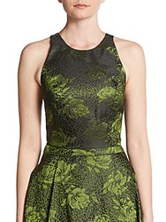 Alice Olivia Joel Floral Jacquard Crop Top Black Green
