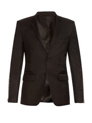 Givenchy Zip Sleeve Wool Blend Blazer Black