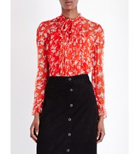 The Kooples Floral Print Silk Shirt Red