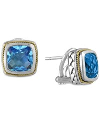 Effy Collection Balissima By Effy Blue Topaz 5 3 8 Ct. T.W. Omega Earrings In 18K Gold And Sterling Silver