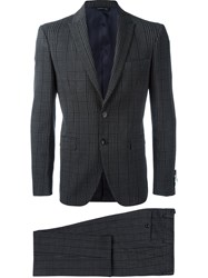 Tonello Plaid Fitted Suit Grey
