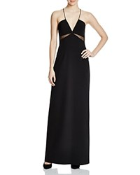 Aqua Sleeveless V Neck Illusion Inset Gown Black