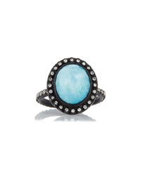 Old World Midnight Oval Turquoise Ring With Diamonds Armenta