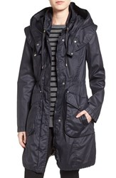 Laundry By Shelli Segal Petite Women's Double Collar Hooded Waxed Cotton Anorak Dark Navy