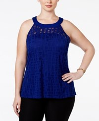 Inc International Concepts Plus Size Illusion Halter Top Only At Macy's Goddess Blue