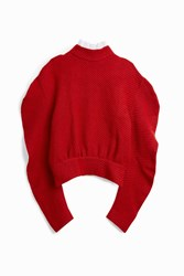 A.W.A.K.E. Women S Ruffled Wool Jumper Boutique1 Red