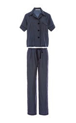 Araks Navy Silk Polka Dot Pajama Set
