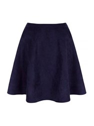Yumi Suedette Fit And Flare Skirt Navy
