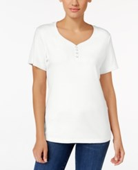 Karen Scott Henley T Shirt Only At Macy's Bright White